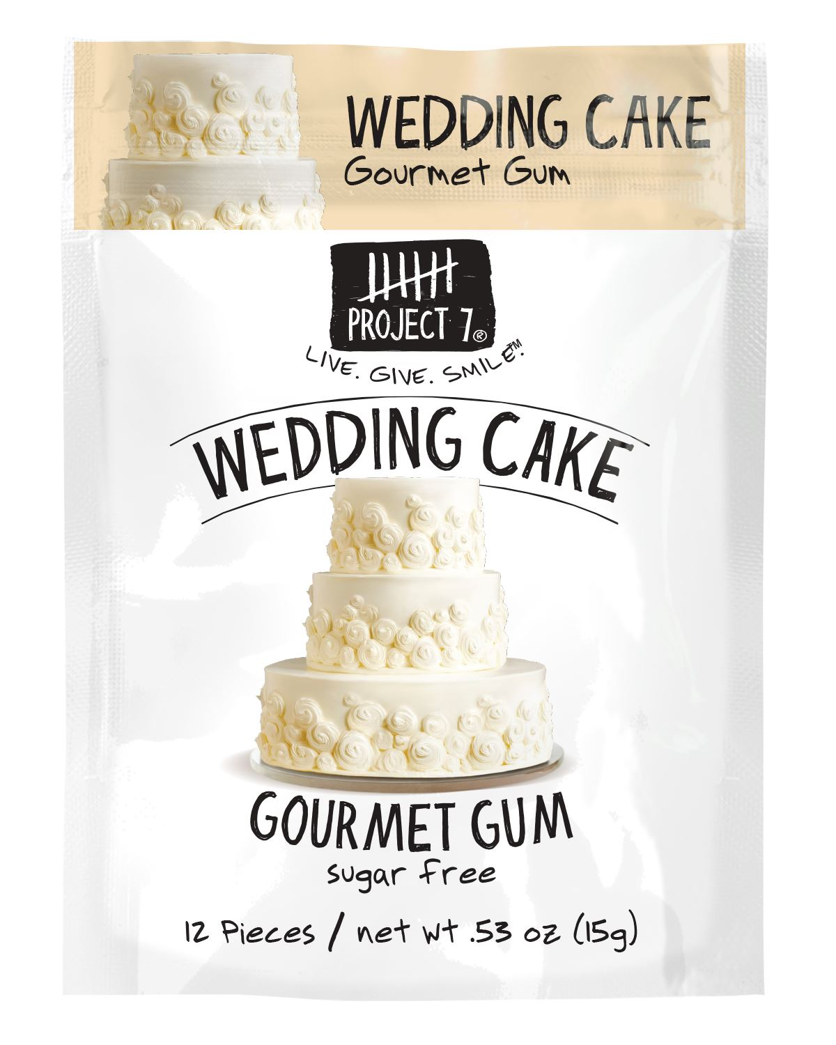 Project 7 Gourmet Gum Sugar Free Snackathon Foods Wedding Cake 0.53 Ounce