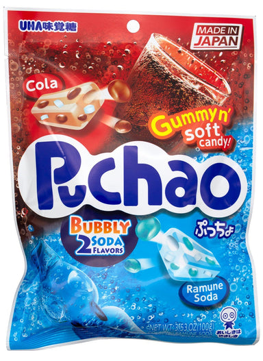Puchao Gummy n' Soft Candy Puchao Bubbly 2 Soda Flavors 3.53 Ounce