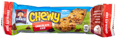 Quaker Chewy Granola Bar Snackathon Foods 25% Less Sugar Chocolate Chip 0.84 Ounce