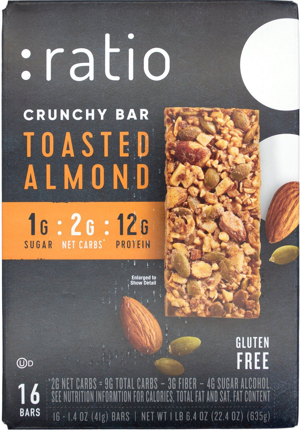 Ratio Crunchy Bar Ratio Toasted Almond 1.4 Oz-16 Count