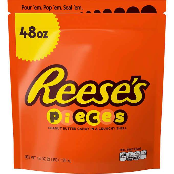 Reese's Pieces, Peanut Butter Candy, 48 Ounce Reese's