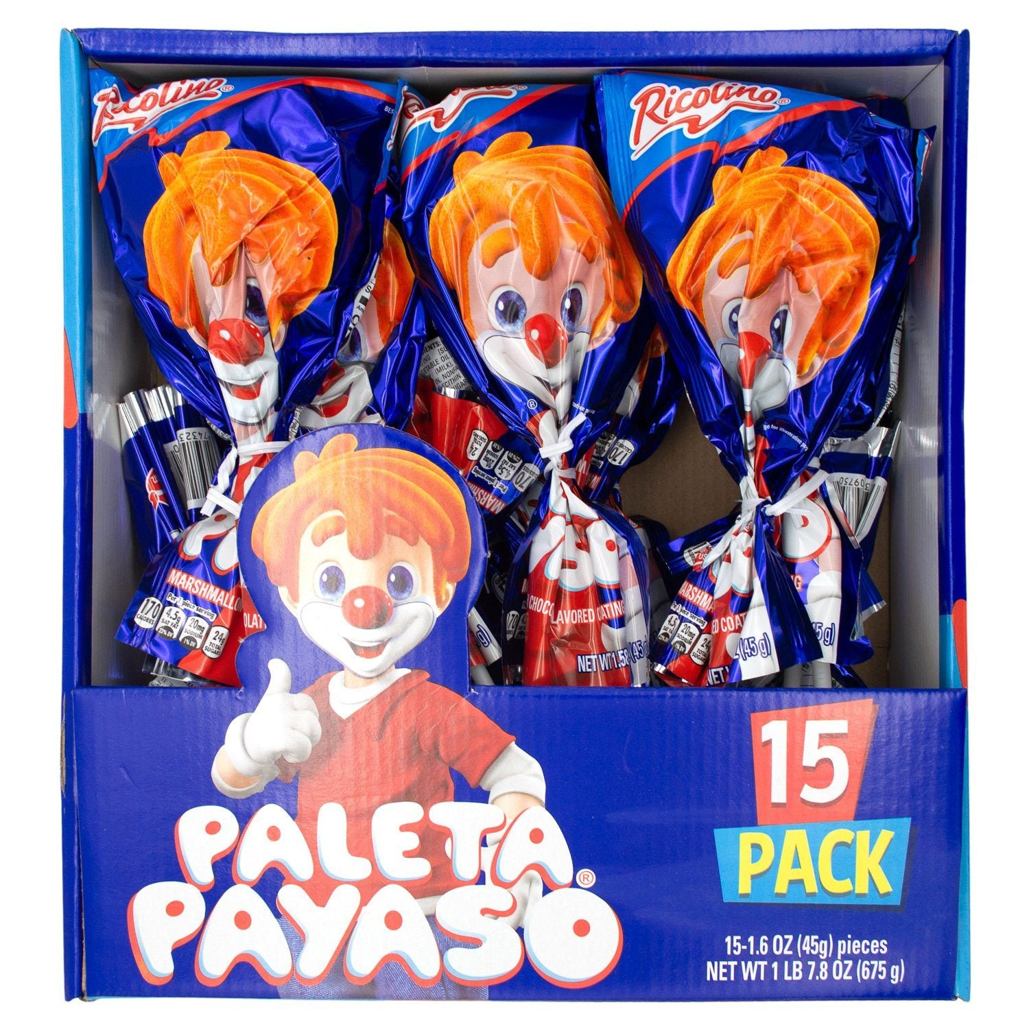 Ricolino Paleta Payaso Marshmallow Lollipop Ricolino 1.58 Oz-15 Count