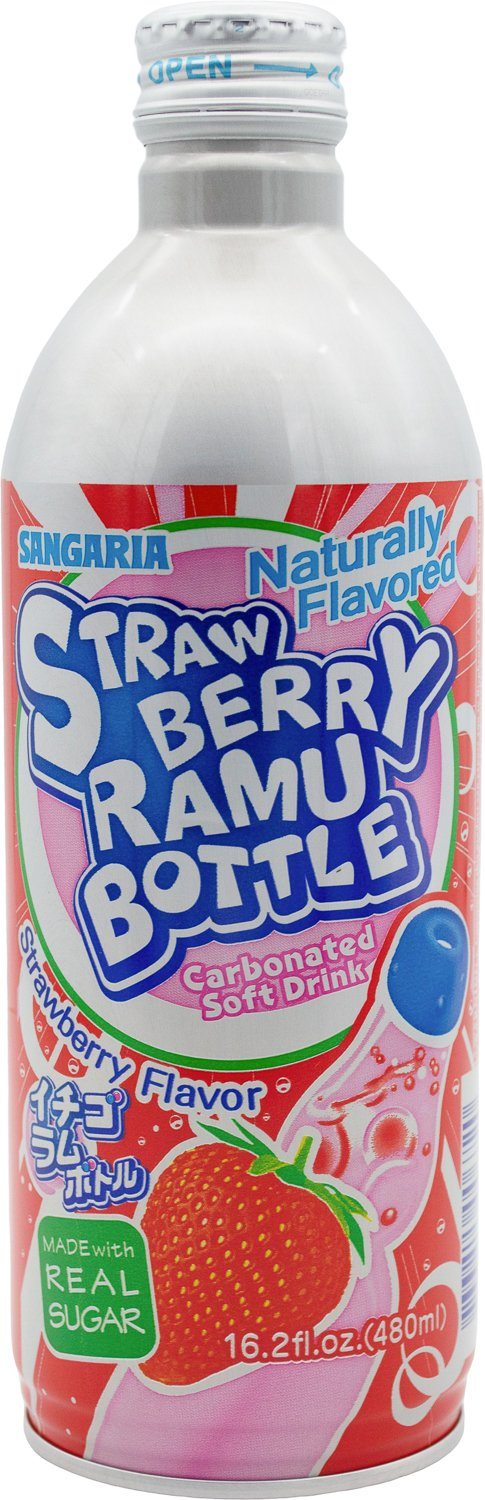 Sangaria Ramuné, Premium Carbonated Soft Drink Sangaria Strawberry 16.2 Fl Oz
