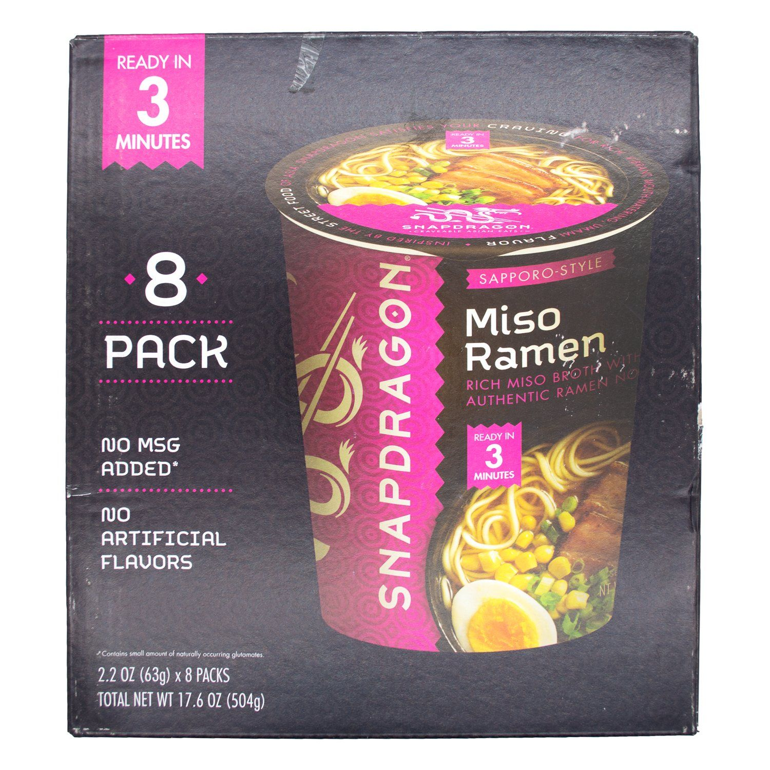 Snapdragon Ramen Cups Snapdragon Sapporo-Style Miso 2.2 Oz-8 Count