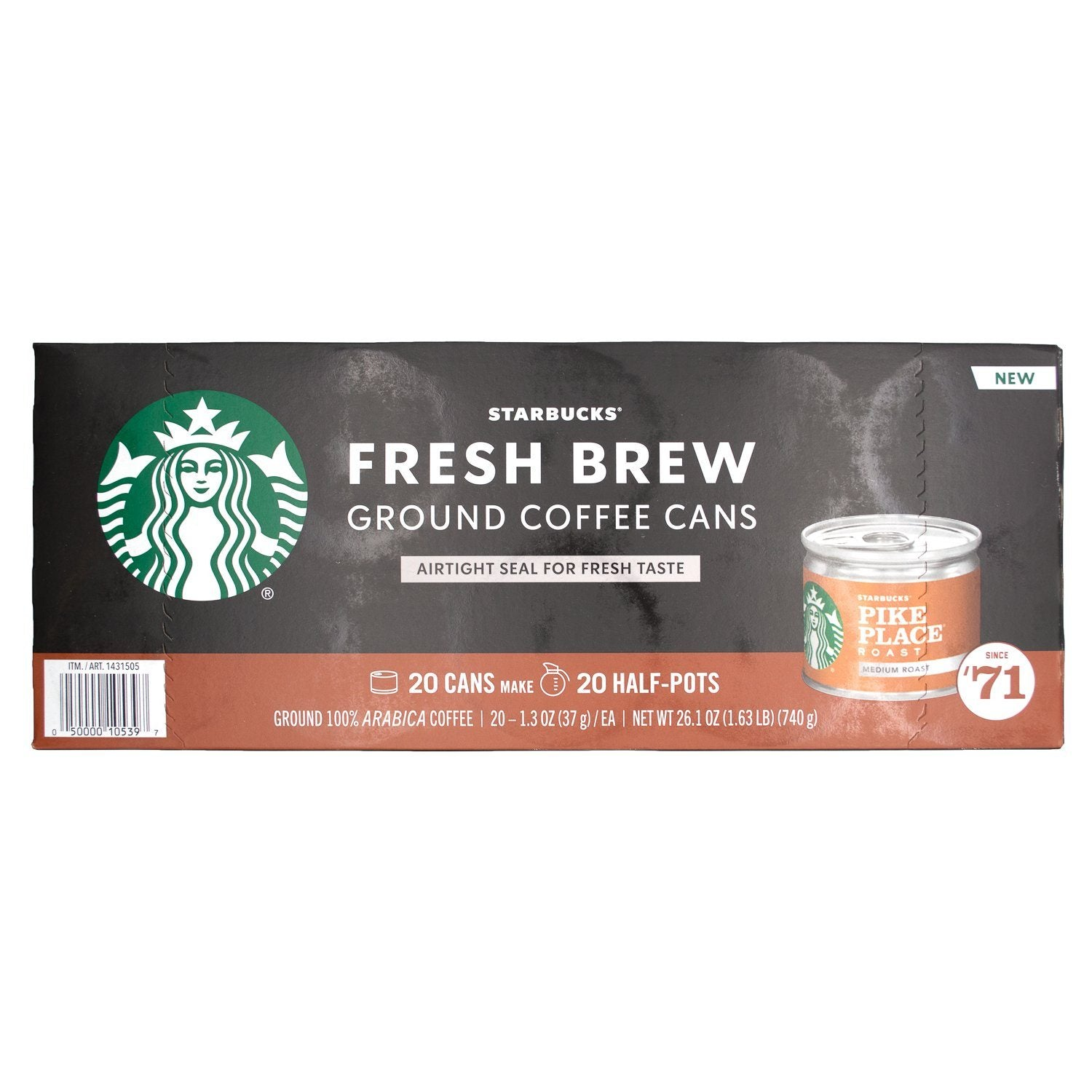 Starbucks Fresh Brew Ground Coffee Cans Starbucks Pike Place 1.3 Ounce-20 Count