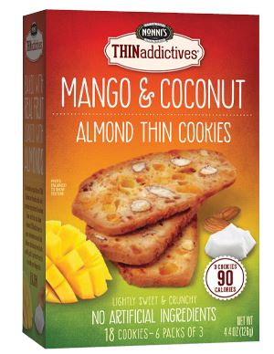 THINaddictives Almond Thin Cookies Nonni's Mango Coconut 18 Cookies