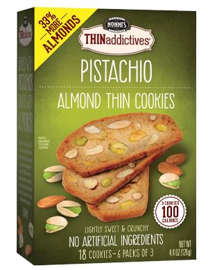 THINaddictives Almond Thin Cookies Nonni's Pistachio 18 Cookies
