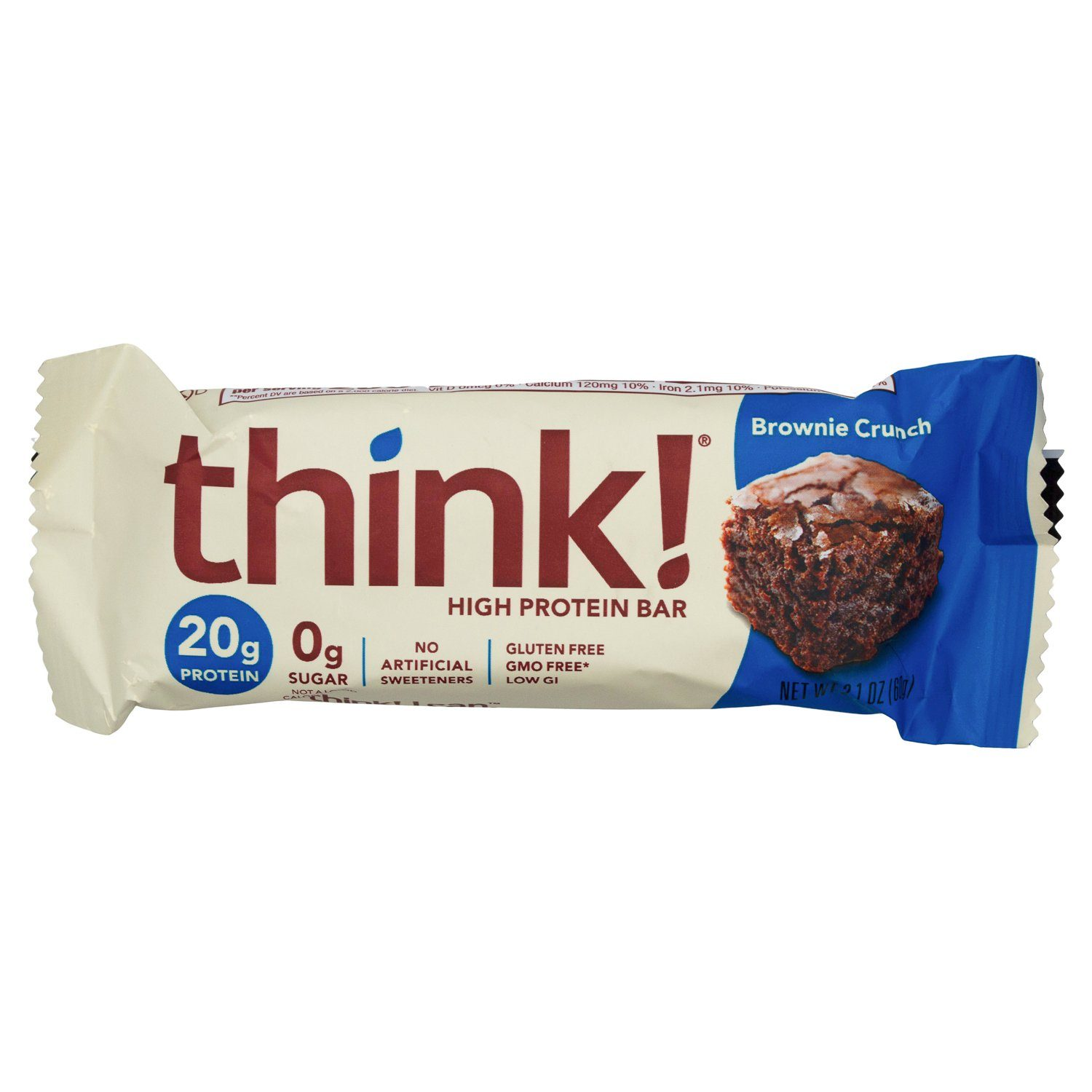 thinkThin High Protein Bars Meltable thinkThin Brownie Crunch 2.1 Ounce