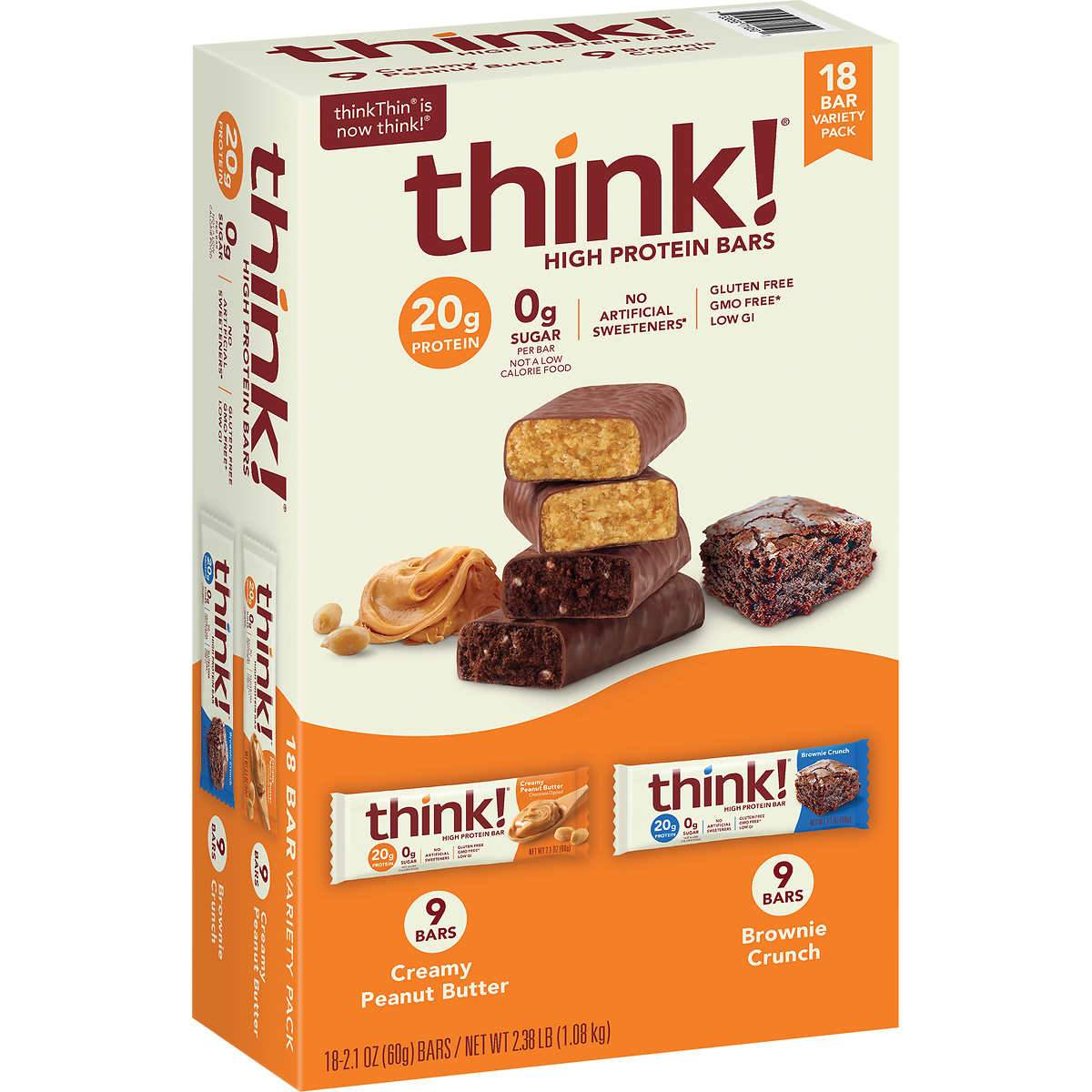 thinkThin High Protein Bars Meltable thinkThin Variety 2.1 Oz-18 Count (Creamy Peanut Butter & Brownie Crunch)