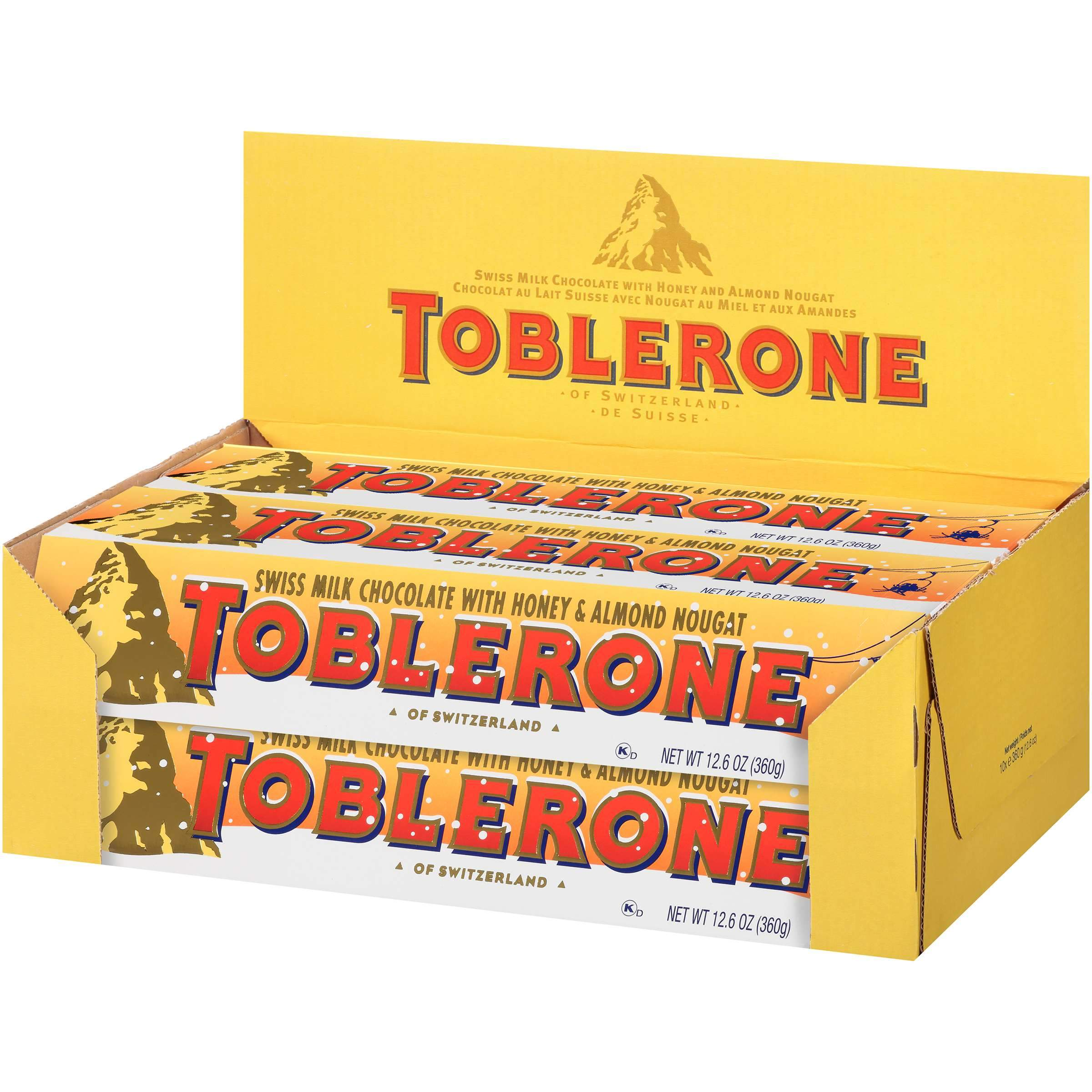 Toblerone Swiss Chocolate with Honey & Almond Nougat Meltable Toblerone Holiday 12.6 Oz-10 Count