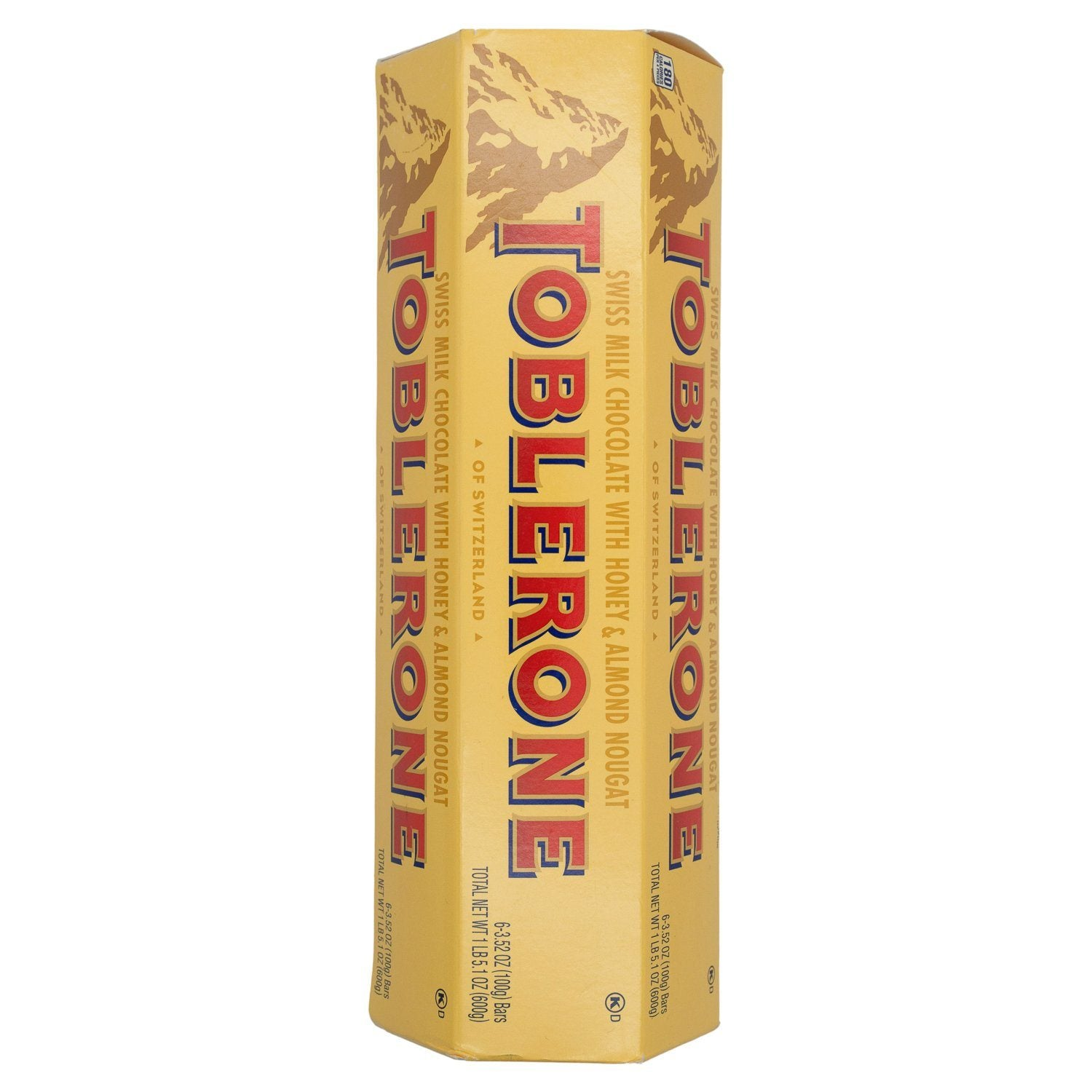 Toblerone Swiss Chocolate with Honey & Almond Nougat Meltable Toblerone Original 3.52 Oz-6 Count