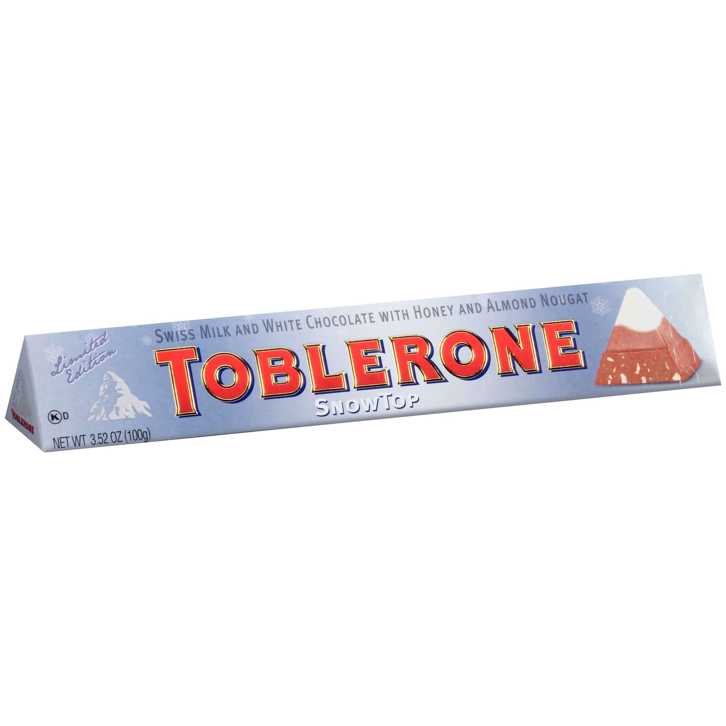 Toblerone Swiss Chocolate with Honey & Almond Nougat Meltable Toblerone Snowtop 3.52 Ounce
