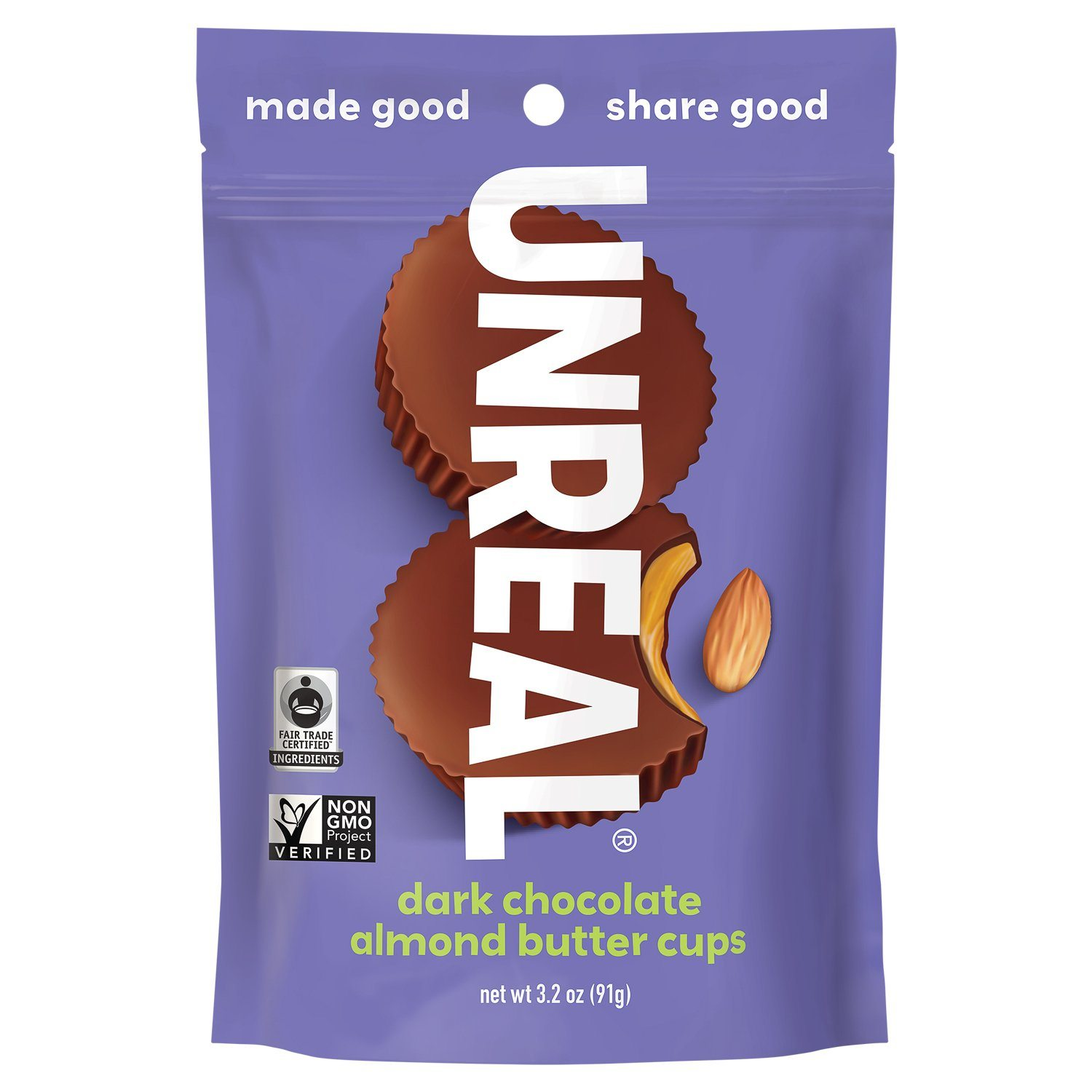 UNREAL Dark Chocolate Butter Cups Meltable UNREAL Almond Butter 4.2 Ounce
