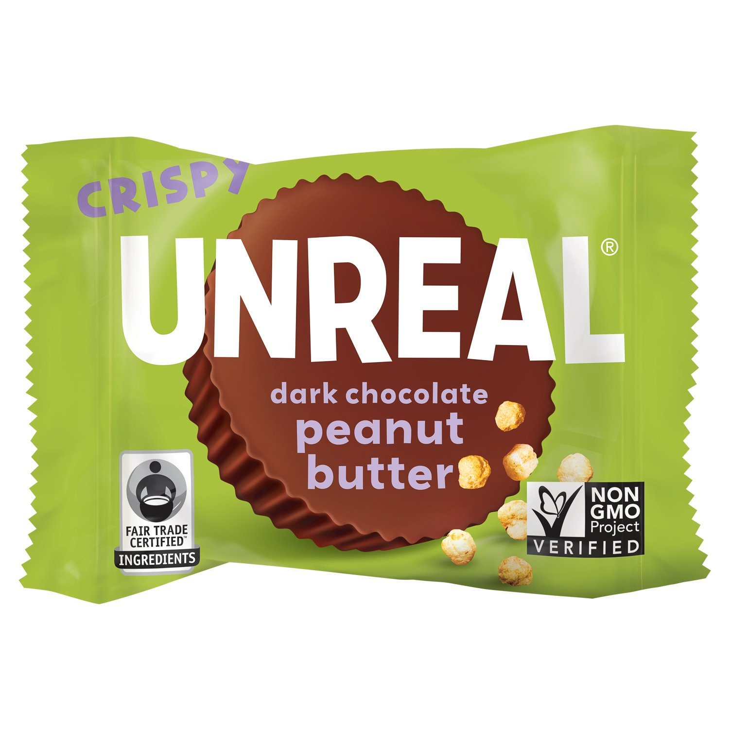 UNREAL Dark Chocolate Butter Cups Meltable UNREAL Crispy Peanut Butter 0.5 Ounce