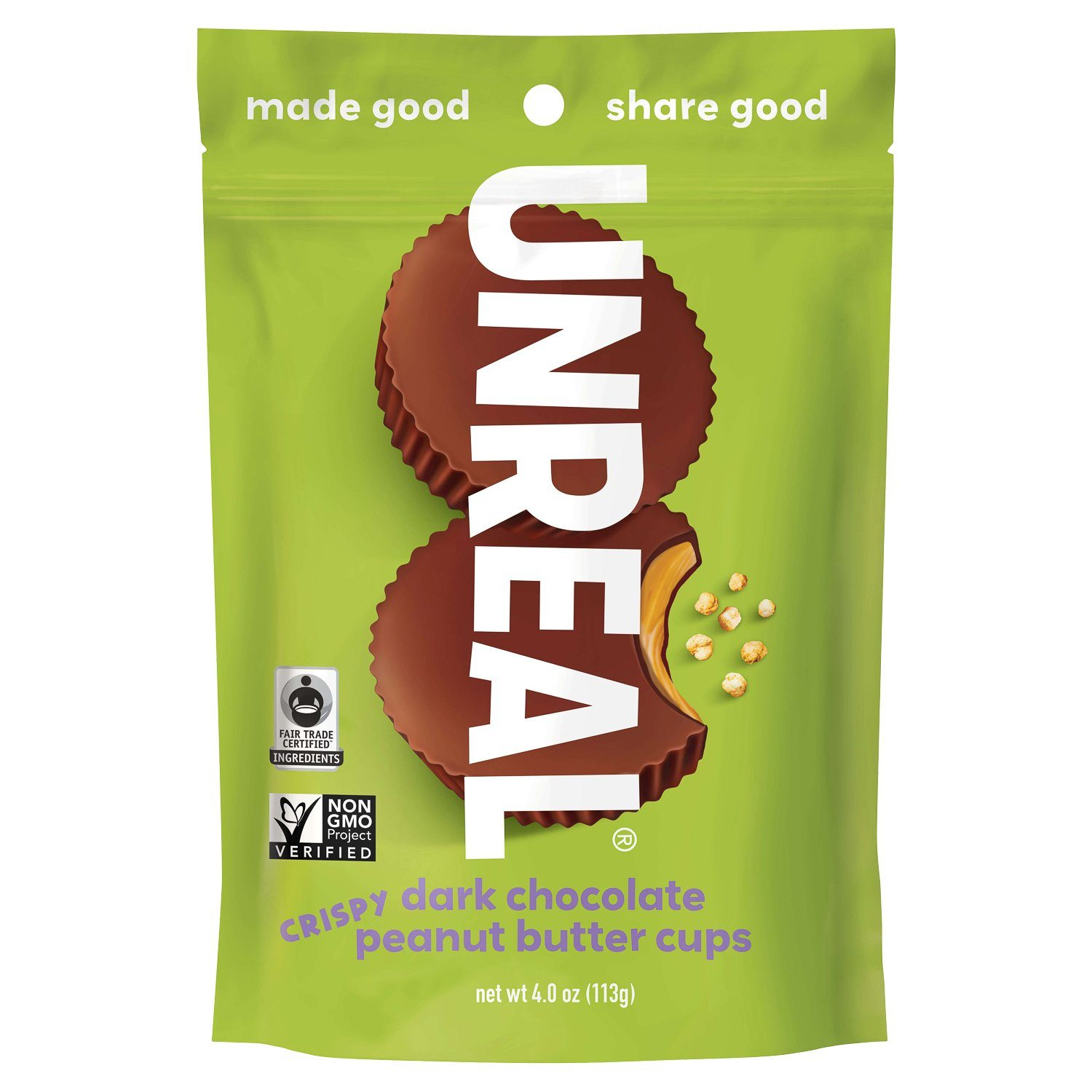 UNREAL Dark Chocolate Butter Cups Meltable UNREAL Crispy Peanut Butter 4 Ounce
