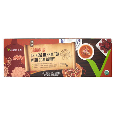 Vilson Organic Chinese Herbal Tea with Goji Berry Vilson 30 Pyramid Tea Bags