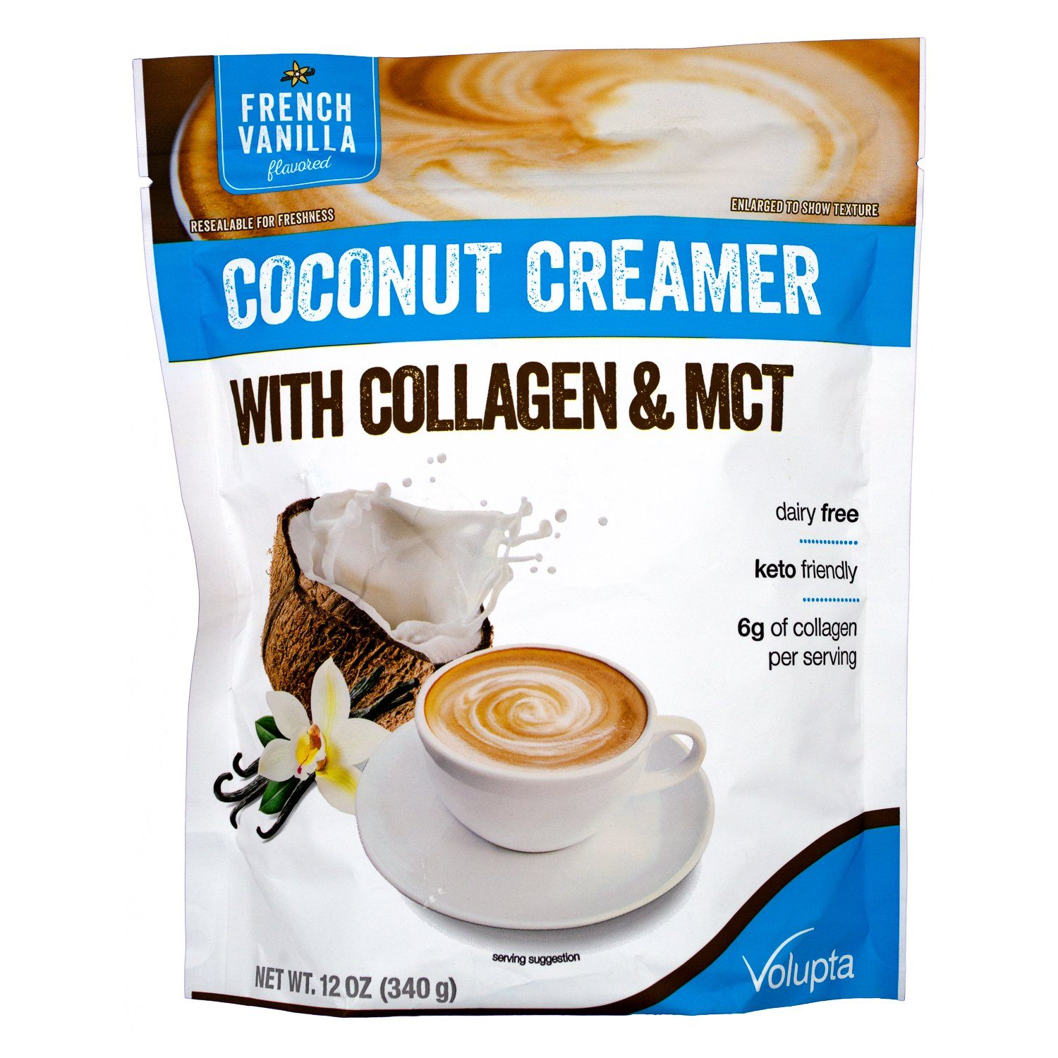 Volupta French Vanilla Coconut Creamer With Collagen & MCT, 12 Ounce Volupta