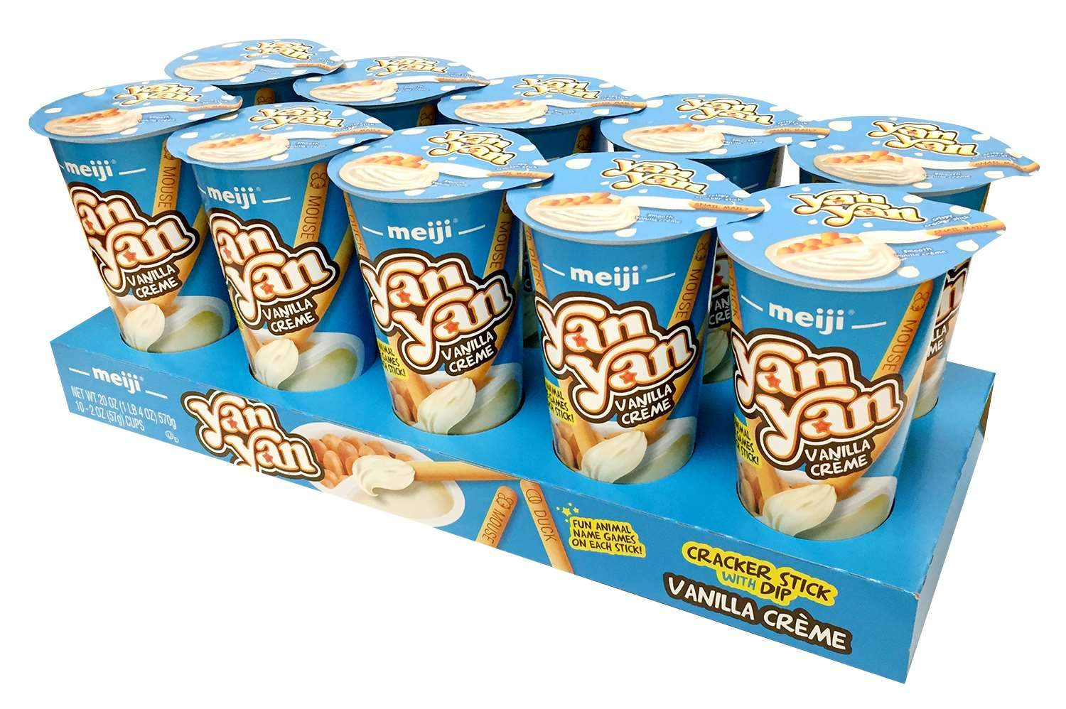 Yan Yan Cracker Stick with Dip Meiji Vanilla Crème 2 Oz-10 Count