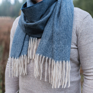 Hector Border Edge Scarf Navy