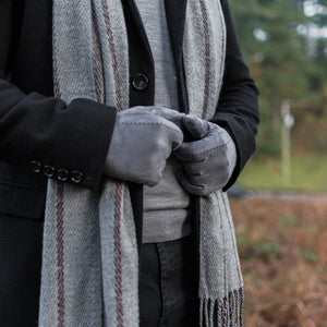 Hector Men's Wide Check Grey Scarf