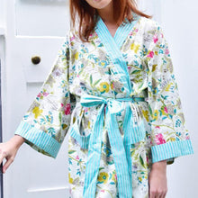 Load image into Gallery viewer, Ladies White Leaf Floral Dressing Gown