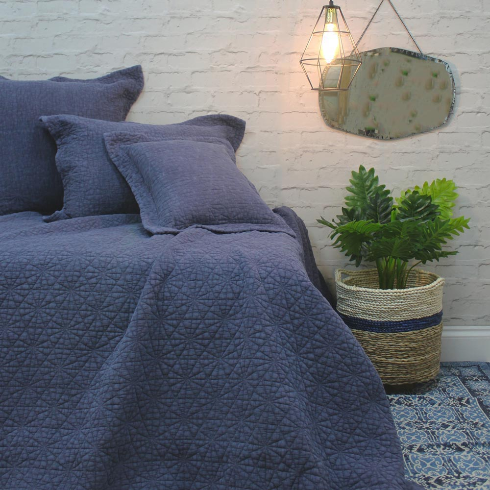 Stonewash Cotton Blue Bedspread