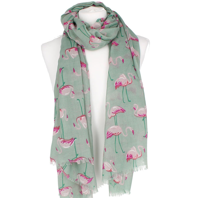 Flamingos Green Scarf