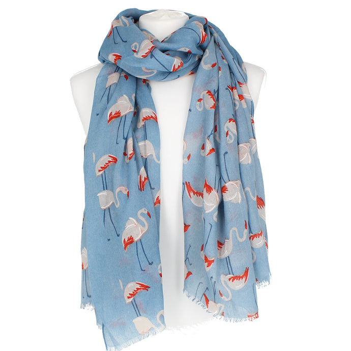 Flamingos Blue Scarf