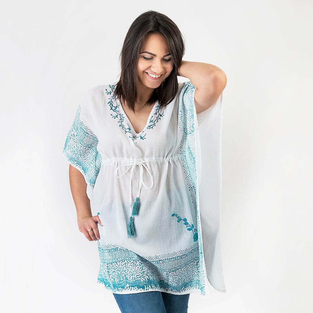 Bonnie Block Printed Tunic with Tassels One Size