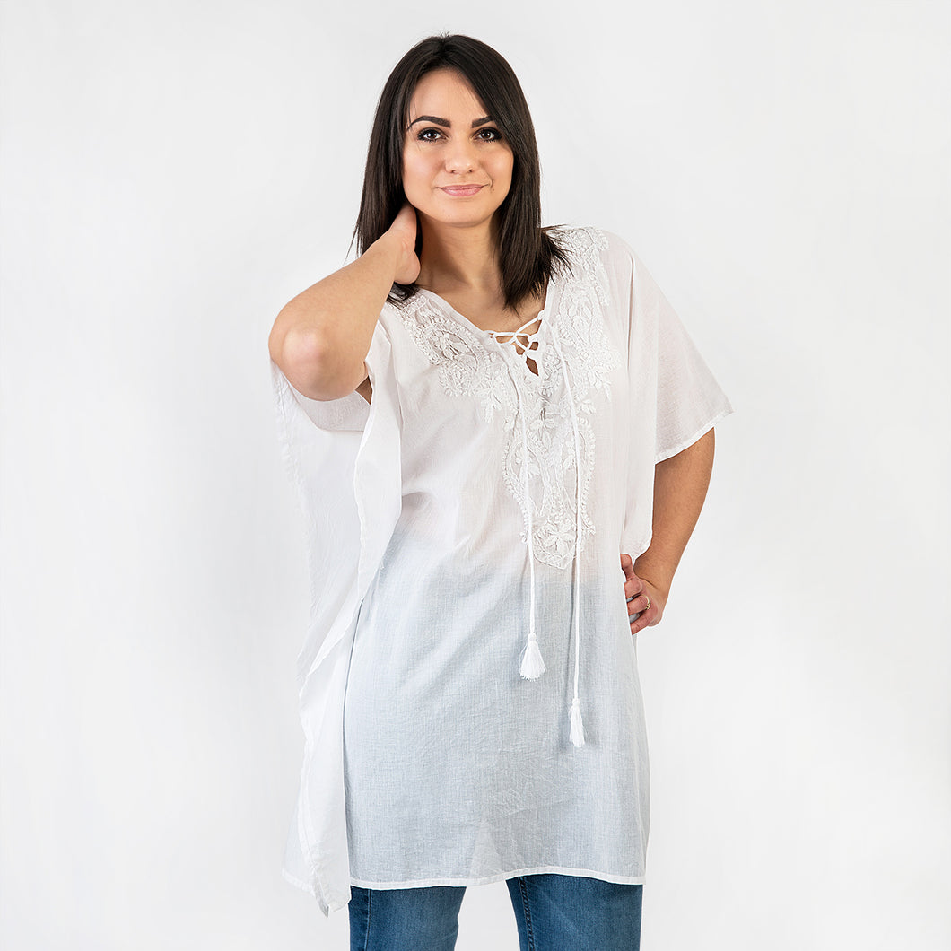 Eloise Hand Embroidered Tunic One Size