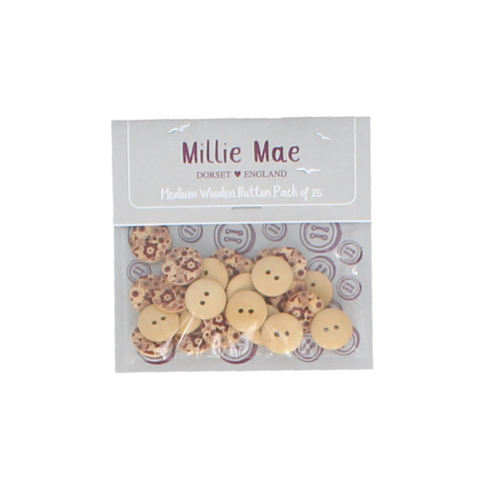 Medium Brown Floral Button Pack of 25