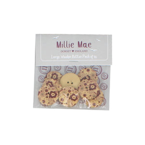 Large Brown Floral Button Pack of 10