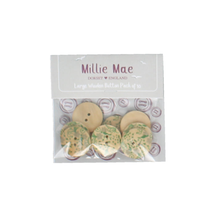 Large Green Floral Button Pack of 10