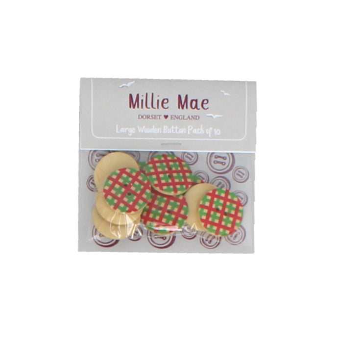 Large Red / Green Check Button Pack of 10