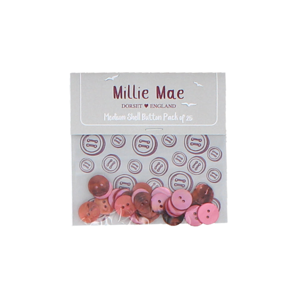 Medium Shell Pink Button Pack of 25