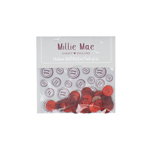 Medium Shell Red Button Pack of 25