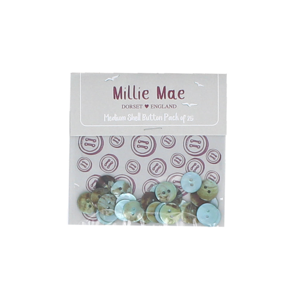 Medium Shell Blue Button Pack of 25
