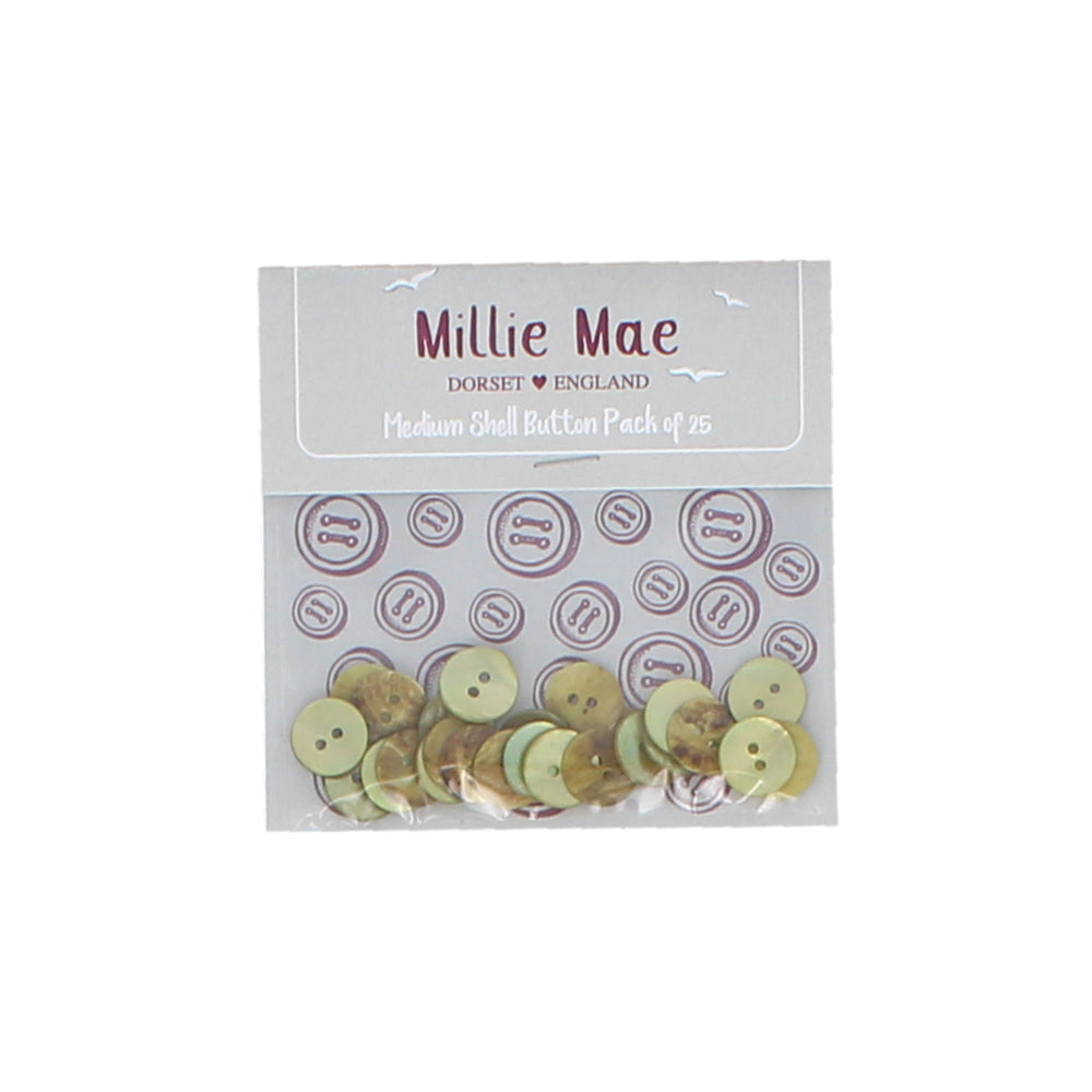 Medium Shell Green Button Pack of 25