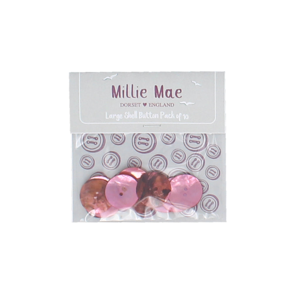 Large Shell Pink Button Pack of 10