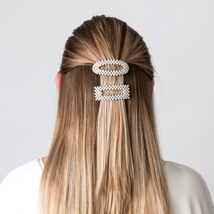 Ponytail Clip Pearl Square