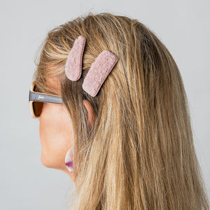 Velvet Set Of 2 Pink Hairclip