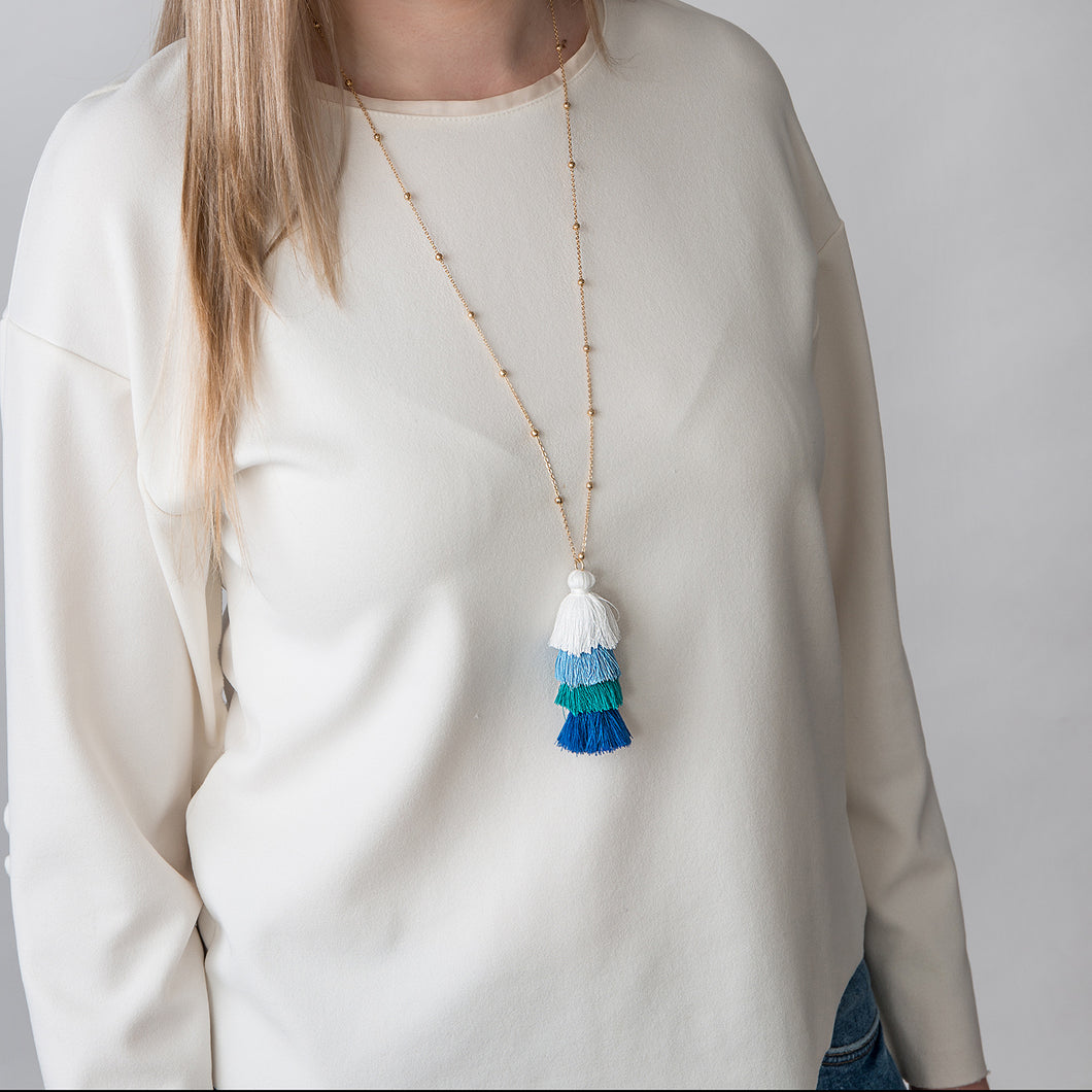 Blue Tassle Necklace