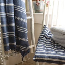 Load image into Gallery viewer, Hamman Stripe Throw Blue