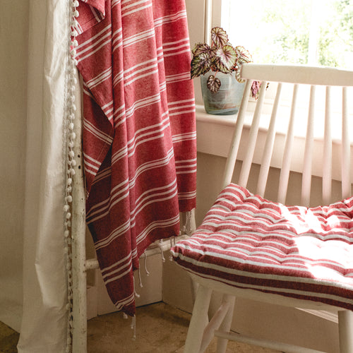 Stripe Seat Cushion Red
