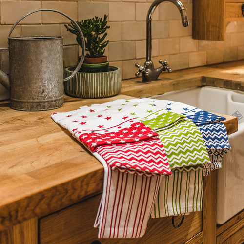 Set of 3 Kitchen Towels Blue