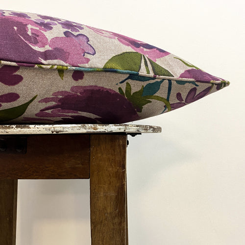Cotton Floral Purple Cushion Complete