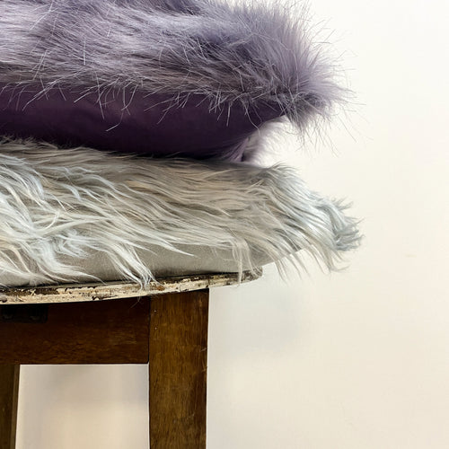Faux Fur Grey Cushion Complete