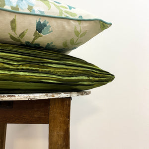 Shiny Pleated Green Cushion Complete