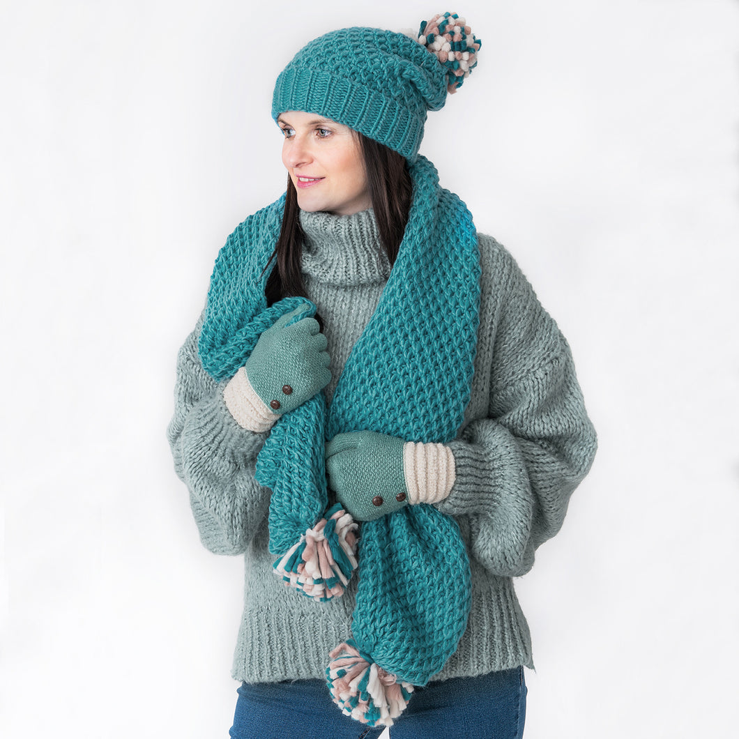 Ella Teal Knitted Pom Pom Hat
