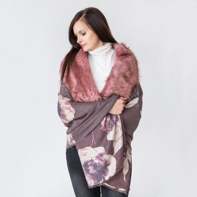 Tania Wine Shawl with Fur Edge